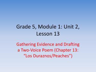 Grade 5, Module 1: Unit 2, Lesson 13