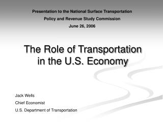 The Role of Transportation in the U.S. Economy