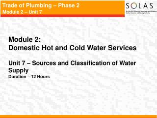 Module 2:   Domestic Hot and Cold Water Services