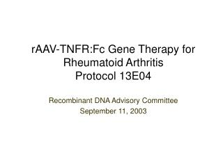 Recombinant DNA Advisory Committee September 11, 2003