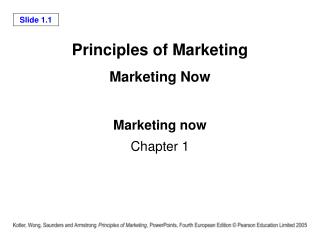 Principles of Marketing Marketing Now