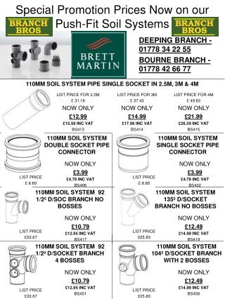Special Promotion Prices Now on our Push-Fit Soil Systems