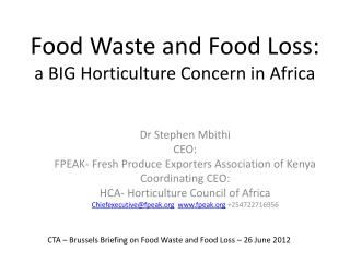 Food Waste and Food Loss: a BIG Horticulture Concern in Africa