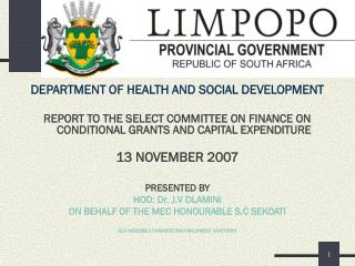 DEPARTMENT OF HEALTH AND SOCIAL DEVELOPMENT