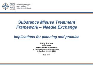 Substance Misuse Treatment Framework – Needle Exchange  Implications for planning and practice