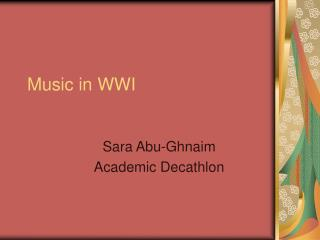 Music in WWI