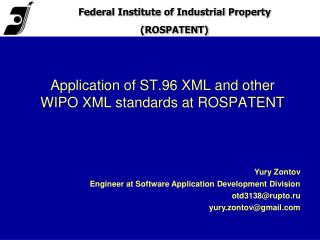 Application of ST.96 XML and other WIPO XML standards at ROSPATENT