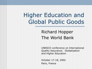 Higher Education and Global Public Goods