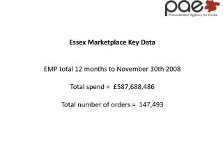 Essex Marketplace Key Data EMP total 12 months to November 30th 2008 Total spend =  £587,688,486