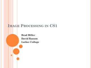 Image Processing in CS1
