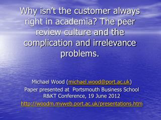 Michael Wood ( michael.wood@port.ac.uk )