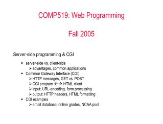 COMP519: Web Programming Fall 2005
