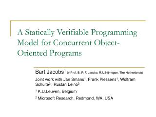 A Statically Verifiable Programming Model for Concurrent Object-Oriented Programs