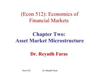 2.1 Financial Markets: functions and Participants