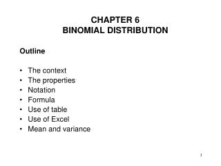 CHAPTER 6 BINOMIAL DISTRIBUTION