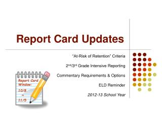 Report Card Updates