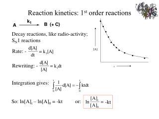 Reaction kinetics: 1 st order reactions