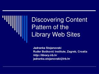 Discovering Content Pattern of the Library Web Sites