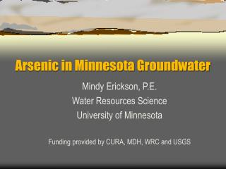 Arsenic in Minnesota Groundwater