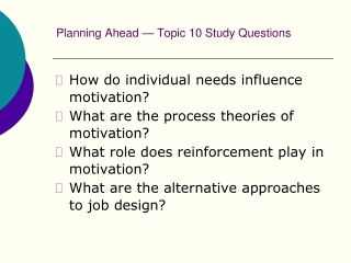 Motivation at Work 2: Some Process Theories