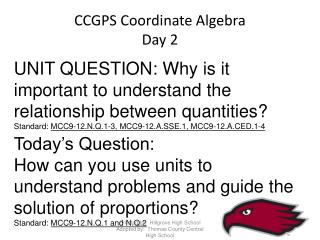 CCGPS Coordinate Algebra Day 2