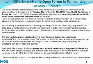 Join HGI's Smart-Home Open Forum in Torino, Italy - Tuesday 19 March