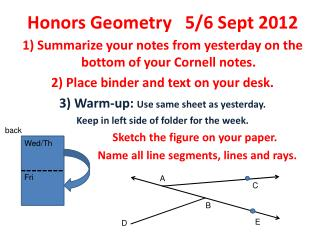 Honors Geometry   5/6 Sept 2012
