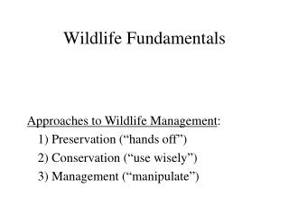 Wildlife Fundamentals