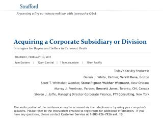 Acquiring a Corporate Subsidiary or Division Strategies for Buyers and Sellers in Carveout Deals