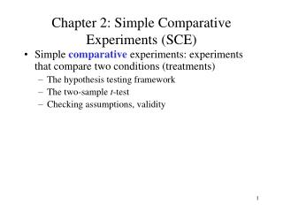 Chapter 2: Simple Comparative Experiments (SCE)