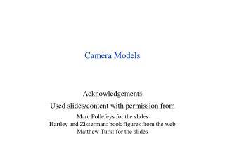 Camera Models