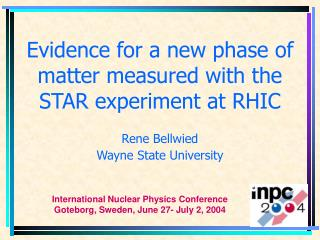 Evidence for a new phase of matter measured with the STAR experiment at RHIC