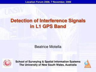 Detection of Interference Signals in L1 GPS Band