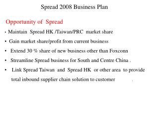 Spread 2008 Business Plan