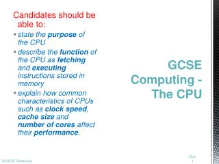 GCSE Computing - The CPU