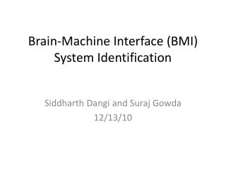 Brain-Machine  Interface (BMI) System Identification
