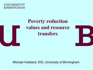 Poverty reduction values and resource transfers