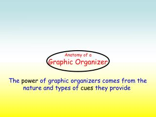 The  power  of graphic organizers comes from the nature and types of  cues  they provide
