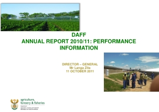 DAFF ANNUAL REPORT 2010/11: PERFORMANCE INFORMATION