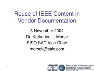 Reuse of IEEE Content in Vendor Documentation