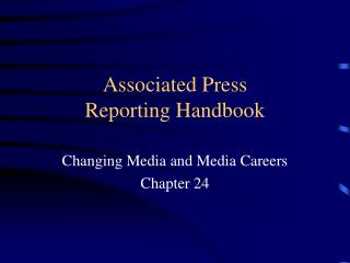 Associated Press  Reporting Handbook