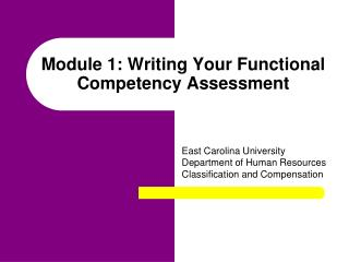 Module 1: Writing Your Functional Competency Assessment