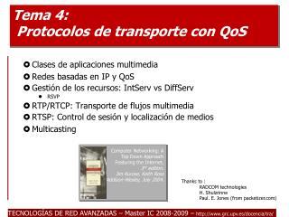 Tema 4: Protocolos de transporte con QoS