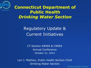 Connecticut Department of Public Health Drinking Water Section