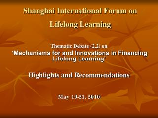 Shanghai International Forum on Lifelong Learning