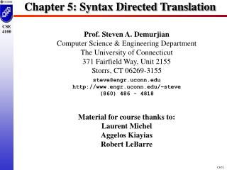 Chapter 5: Syntax Directed Translation