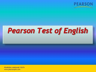 Pearson Test of English