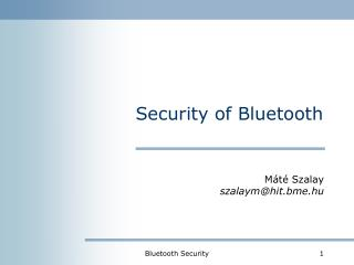 Security of Bluetooth