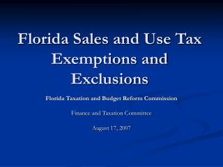 Florida Sales and Use Tax Exemptions and Exclusions