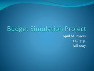 Budget Simulation Project